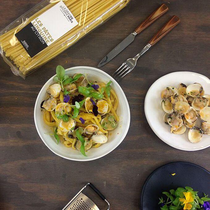 Linguine, coques et soupe de langoustine Recipe from La Grande Épicerie de Paris