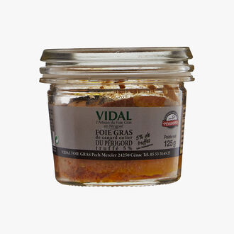 Foie gras de canard entier du Périgorg truffé 5% (Tuber melanosporum) Vidal