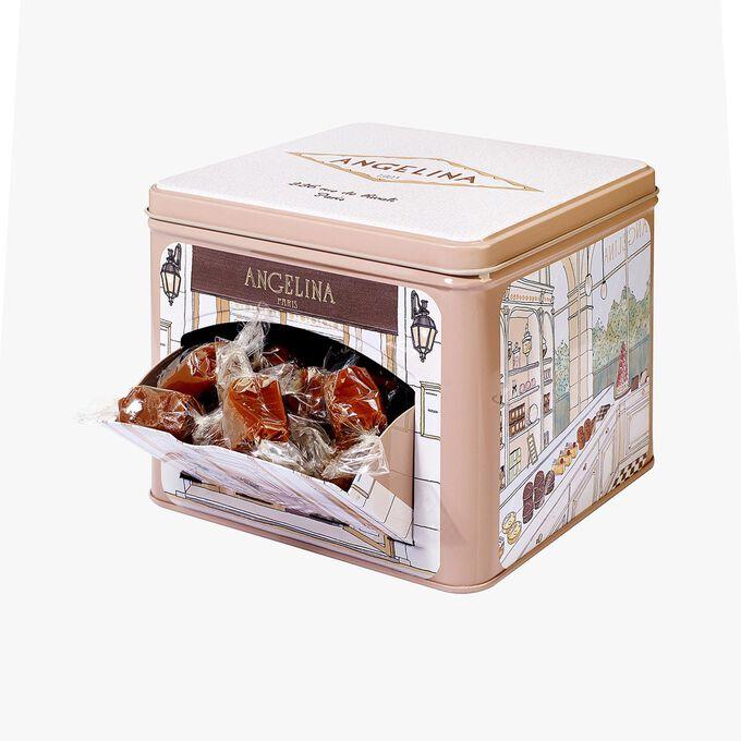Boîte en fer Rivoli caramels nature et chocolat 500g Angelina