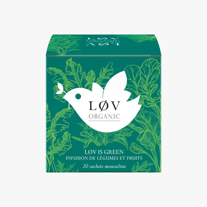 Lov is Green, a box of 20 muslin tea bags of plant and fruit infusions Lov Organic