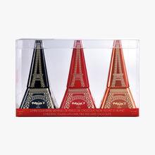 3 minis Tour Eiffel remplies de perles de chocolat noir, au lait et blanc Maxim's