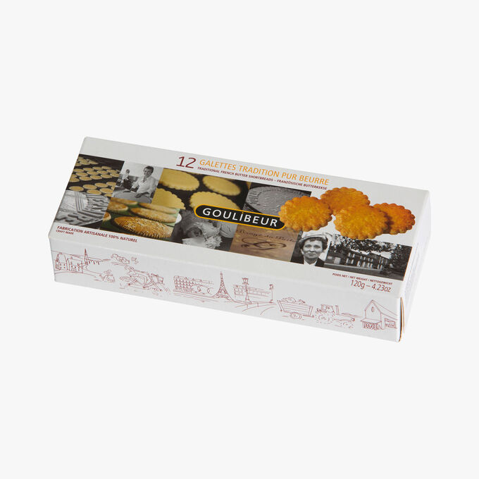 Twelve pure butter shortbread biscuits in three sealed freshness packs Goulibeur