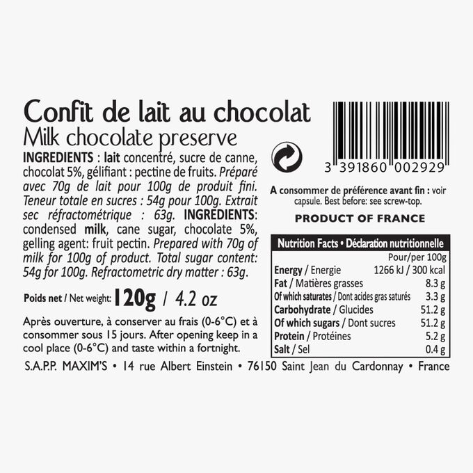 Confit de lait au chocolat Maxim's