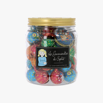 Jar of decorative tree baubles and Christmas chocolates   Les Gourmandises de Sophie