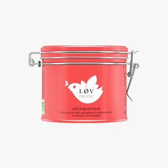 Lov is Beautiful, a mixture of teas, rooibos and yellow fruits in a metal tin. Lov Organic
