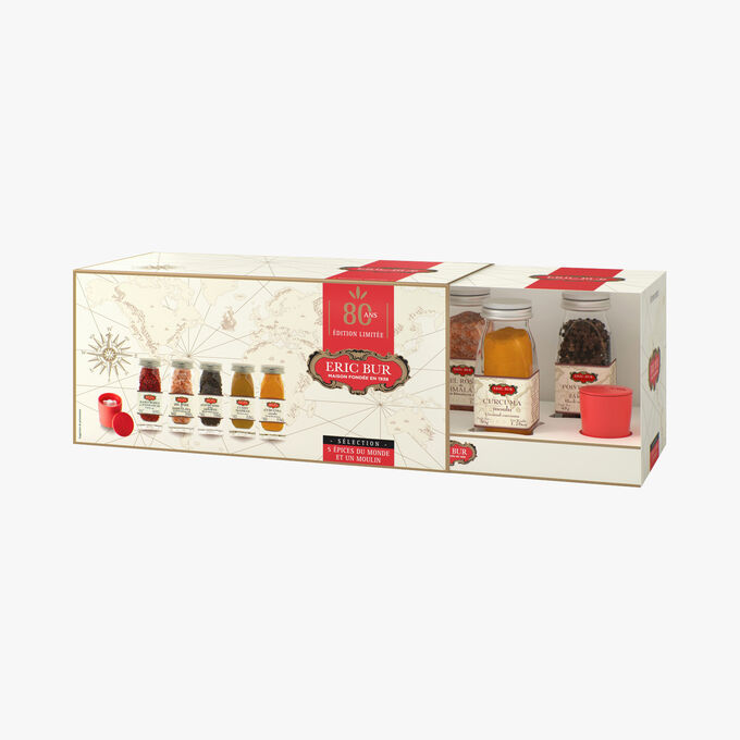 Anniversary gift set of 5 world spices and a mill Eric Bur