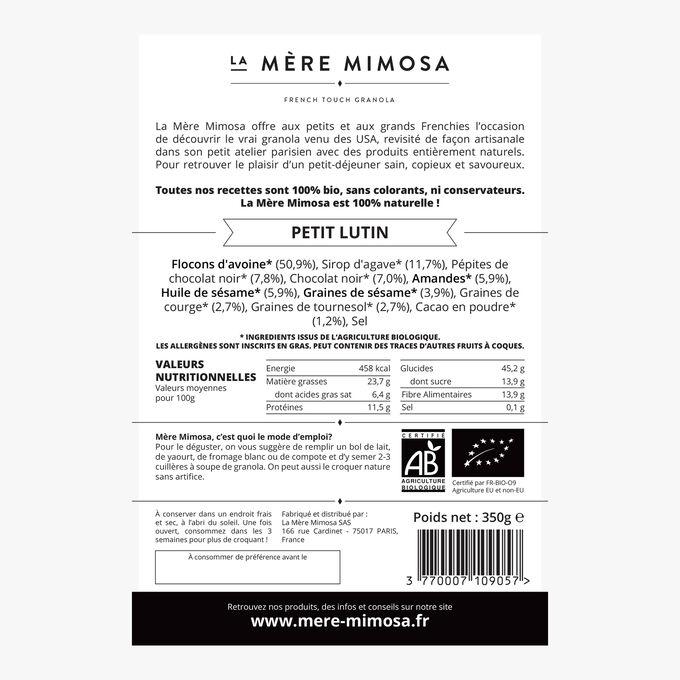 Petit Lutin cocoa and chocolate chip granola  La Mère Mimosa