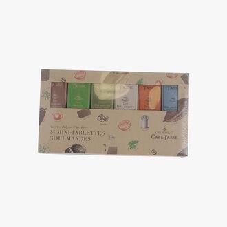 Boîte découverte contenant 24 mini tablettes assorties Café-Tasse