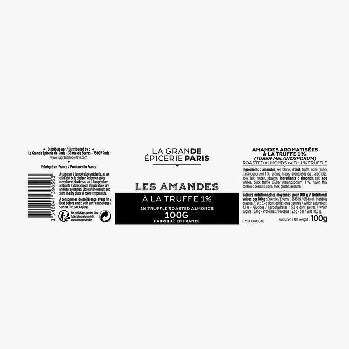 Truffle-flavoured almonds 1% (Tuber Melanosporum) La Grande Épicerie de Paris