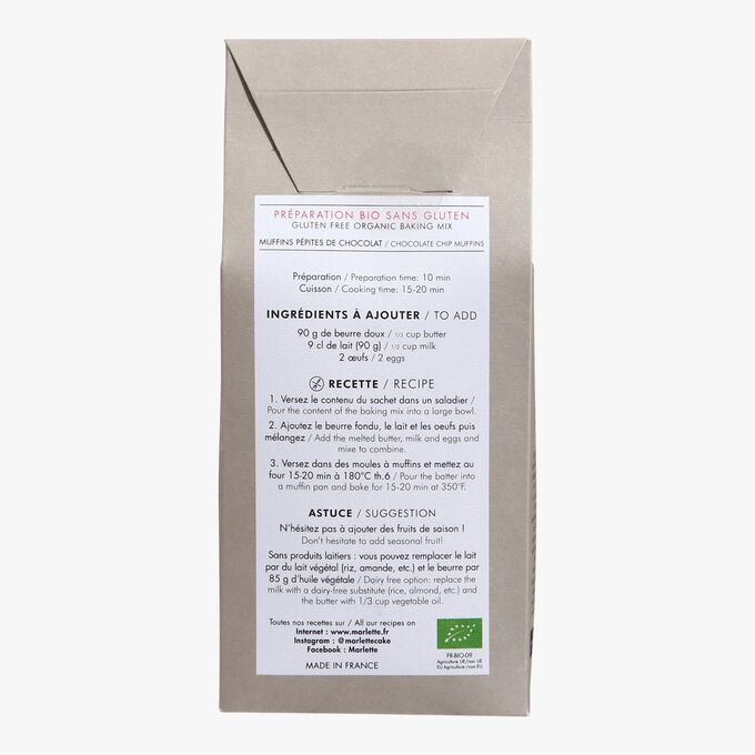 Organic mix for gluten-free chocolate chip muffins Marlette