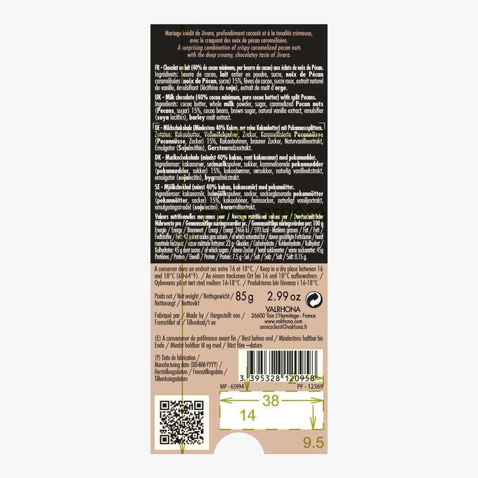 Tablette Jivara, chocolat au lait (40% de cacao minimum, pur beurre de cacao) aux éclats de noix de pécan Valrhona