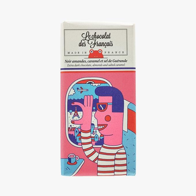 Noir amandes, caramel et sel de Guérande - Illustration Andy Rementer Le Chocolat des Français