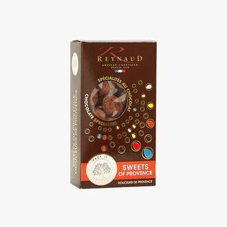 Amandes enrobées pâte de noisette Gianduja noir poudrées cacao Reynaud