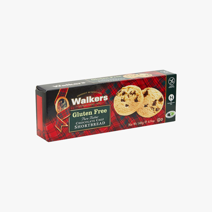 Pure butter shortbread biscuits with chocolate chips, gluten free Walkers