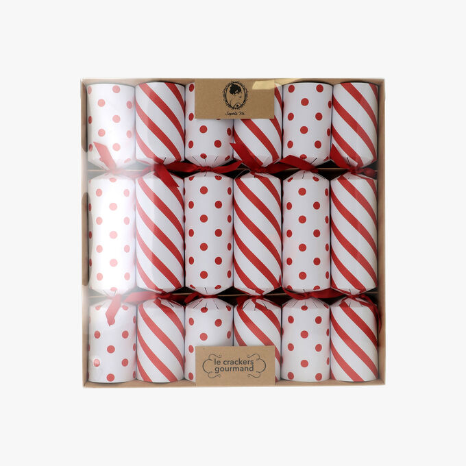 6 red and white crackers Sophie M