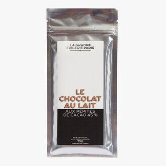 Milk chocolate with cocoa nibs, 45% cocoa La Grande Épicerie de Paris