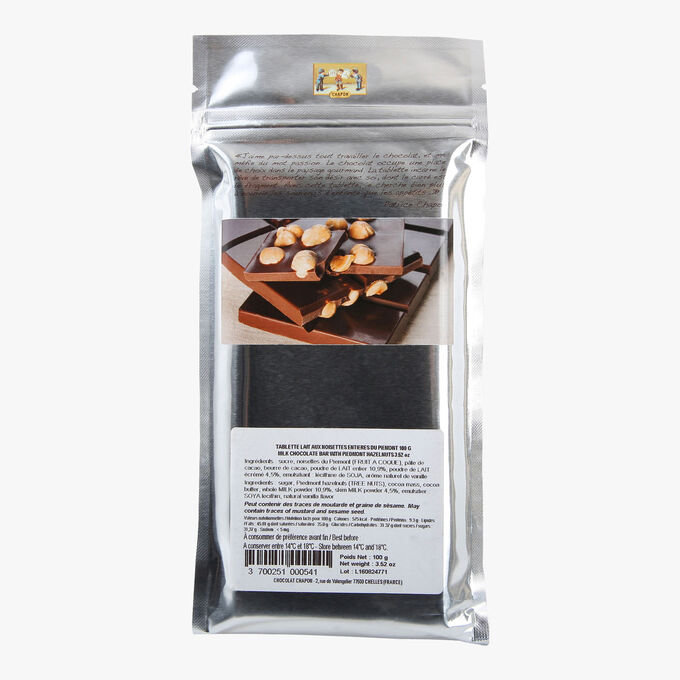 Milk chocolate bar with whole Piémont hazelnuts Chapon