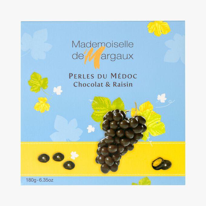 Grains de raisins enrobés de chocolat, Perles du Médoc Mademoiselle de Margaux