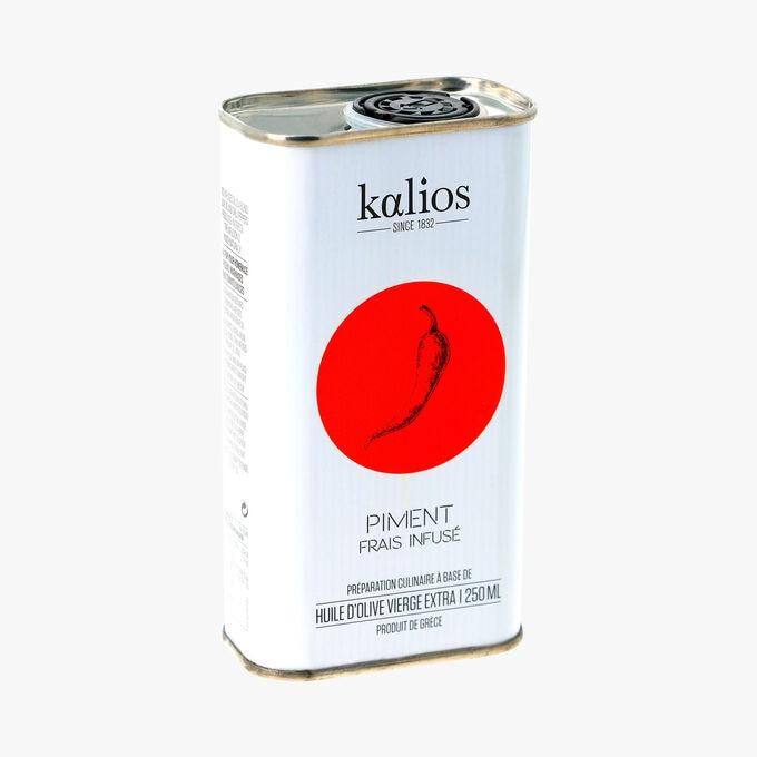 Piment frais infusé, préparation culinaire à base d'huile d'olive vierge extra Kalios