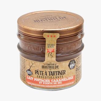 Pâte à tartiner croustillante - lait, pistache caramélisée et pointe de sel Le Comptoir de Mathilde
