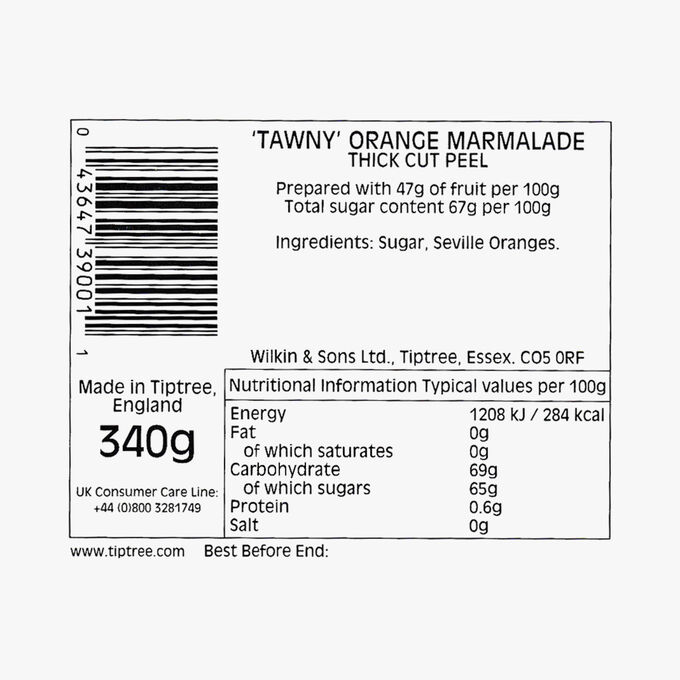 """""""Tawny"""" orange marmalade with thick-cut peel Wilkin & Sons"""