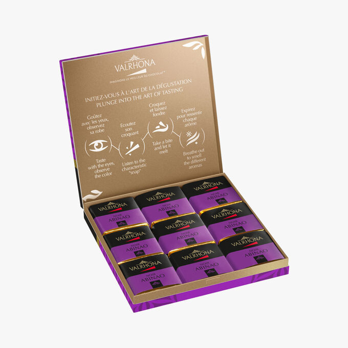 Box of 18 dark chocolate squares, Abinao Valrhona