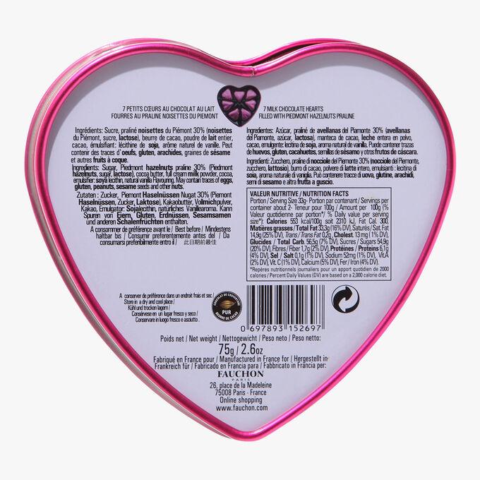 Boîte cœur magenta, chocolat au lait Fauchon