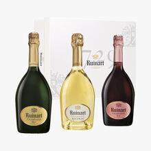 Coffret de trois bouteilles de Champagne Ruinart (brut, rosé et blanc de blancs) Ruinart