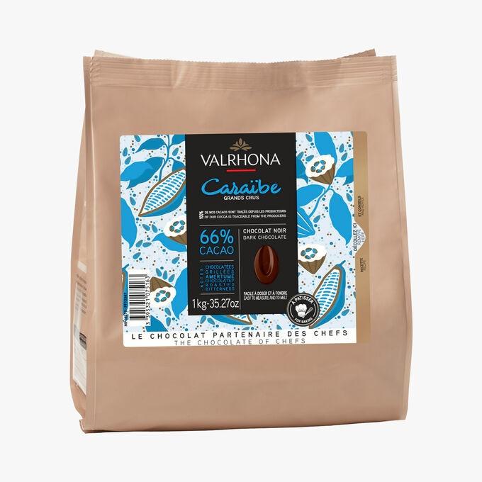 Noir Caraïbe, chocolat noir 66%, à pâtisser Valrhona