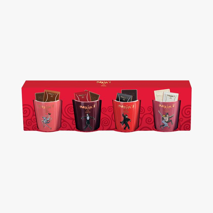 4 cups filled with 16 assorted chocolate squares Maxim's