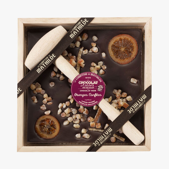 Candied orange dark chocolate to break Le Comptoir de Mathilde