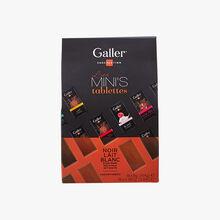 Les mini's tablettes chocolat noir lait blanc assortiment Galler