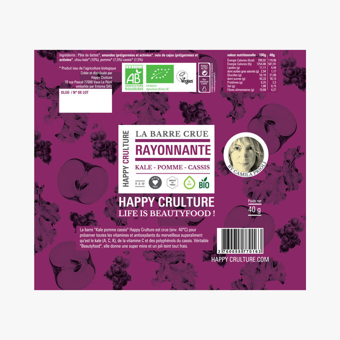 La Barre crue Rayonnante, kale, pomme, cassis Happy Crulture