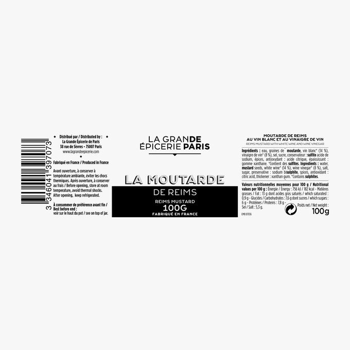 Moutarde de Reims au vin blanc et au vinaigre de vin La Grande Épicerie de Paris
