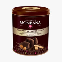 Assortment of truffles with chocolate, caramel and crepe dentelle Chocolaterie Monbana
