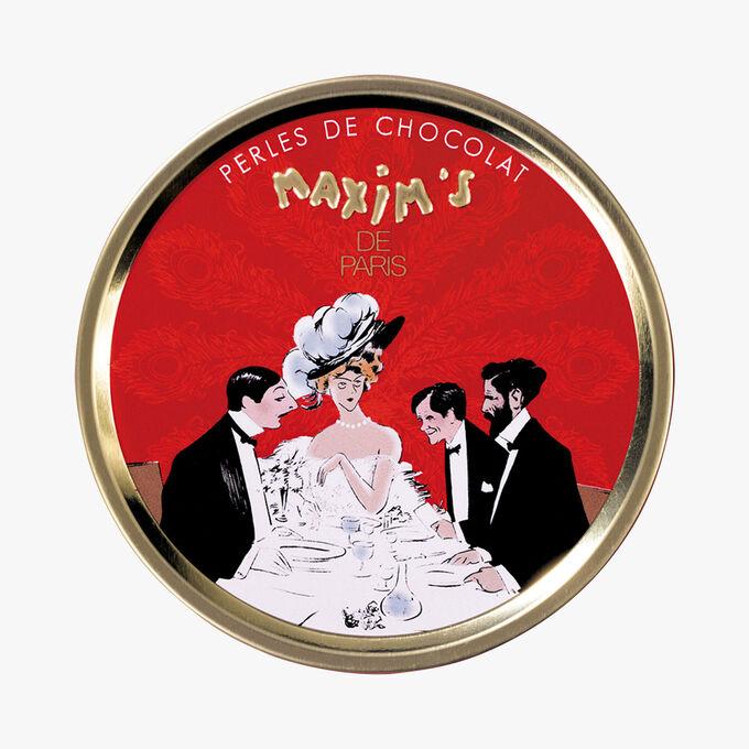 Round box with milk chocolate pearls Maxim's