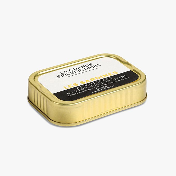 Sardines à l'huile d'olive vierge extra, au citron confit et au piment La Grande Épicerie de Paris
