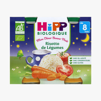 A wholesome organic main meal for babies: Vegetable risotto  HiPP