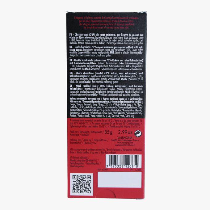 Tablette Guanaja, chocolat noir 70% aux éclats de fèves de cacao Valrhona