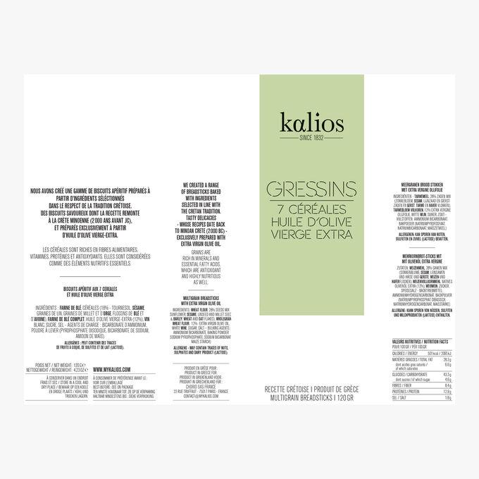 Gressins - 7 cereals & extra-virgin olive oil Kalios
