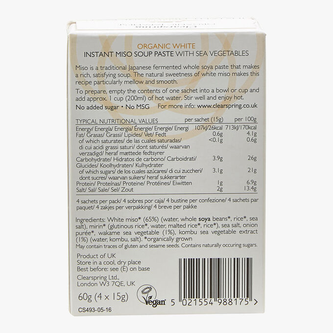 Organic White Miso Soup, Concentrated and Instant Clearspring