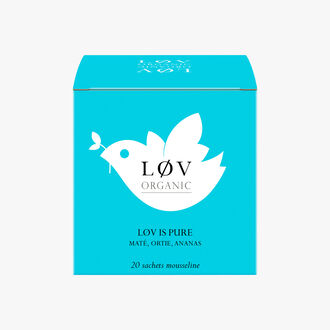 Lov is Pure, a box of 20 muslin tea bags of Maté, Nettle and Pineapple Lov Organic