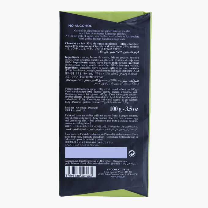 Tablette chocolat au lait aux noisettes Weiss