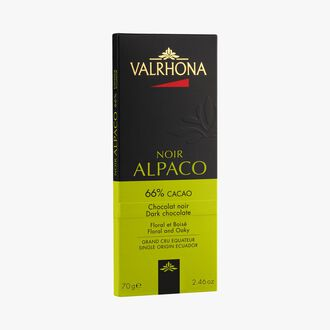 Alpaco bar, dark chocolate (66 % minimum cocoa, pure cocoa butter) Valrhona