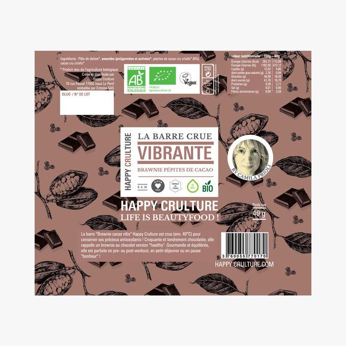 La Barre crue Vibrante, cacao, pépites de cacao Happy Crulture