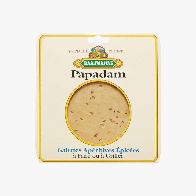 Papadam, Galettes apéritives épicées à frire ou à griller Raajmahal