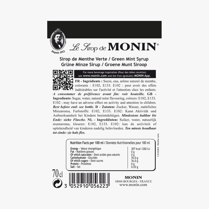 Green mint cordial Monin