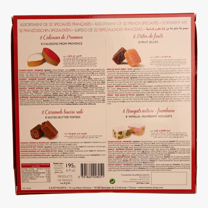 Assortment of 32 French specialities: fruit jellies, calissons, nougat and toffee. Maxim's