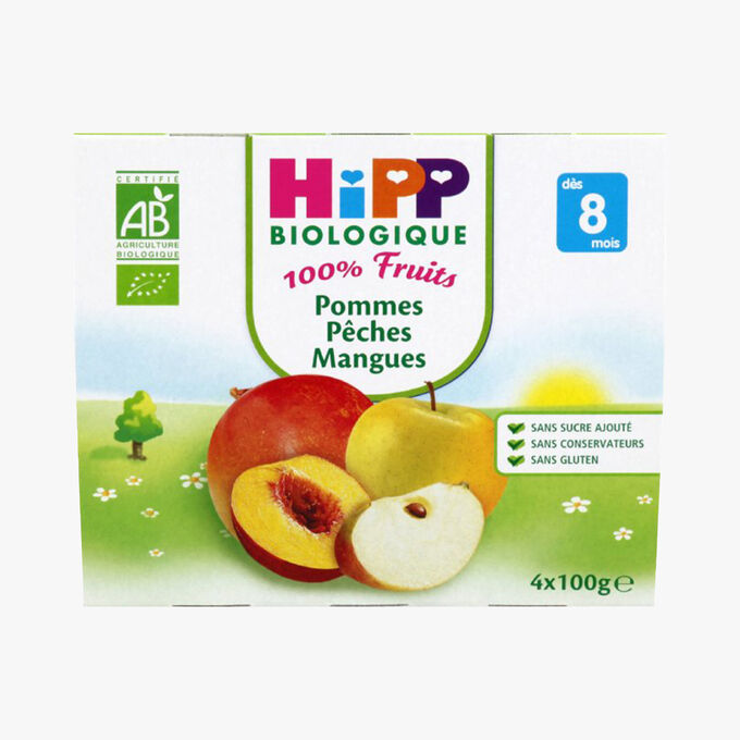 Fruit pots for babies: apple, peach and mango HiPP