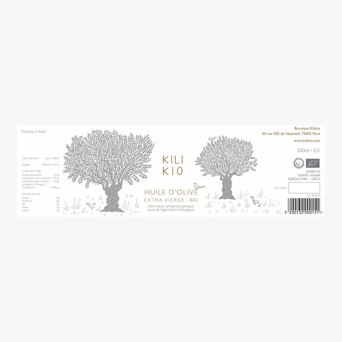 Huile d'olive extra vierge bio Kilikio